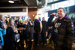 """Jimmy Fallon visits with fans and does some taping for """"The Tonight Show with Jimmy Fallon"""" on Sunday, February 4, 2018 on The StubHub Live: Field House Super Bowl pregame event at Target Field in Minneapolis, Minn. The event, free for those who purchased tickets to the Super Bowl on StubHub, included food and drink, tailgating games and meet and greets with football greats. Photo by Leila Navidi/Minneapolis Star Tribune/TNS/ABACAPRESS.COM"""
