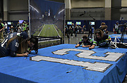 Aug 25, 2017; Seattle, WA, USA; Seattle Seahawks fans sign the 12th man flag at Touchdown City tailgate zone during a NFL football game against the Kansas City Chiefs at CenturyLink Field.