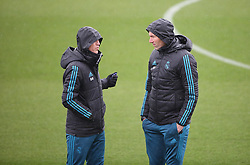 April 10, 2018 - Madrid, Spain - Real Madrid's French coach Zinedine Zidane (R) and assistant coach David Bettoni attend a training session  at Valdebebas Sport City in Madrid on April 10, 2018 on the eve of the UEFA Champions League quarter-final second leg football match against Juventus. (Credit Image: © Raddad Jebarah/NurPhoto via ZUMA Press)