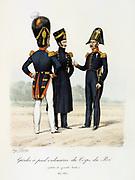 Footguards of the King's guard, 1817-1830.     'Histoire de la maison militaire du Roi de 1814 a 1830' by Eugene Titeux, Paris, 1890.