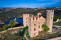 France, Loire (42), Chambles, le chateau d'Essalois qui domine les gorges de la Loire et le lac Grangent, vallée de la Loire (vue aérienne) // France, Loire (42), Chambles, the castle of Essalois which dominates the gorges of the Loire and the lake Grangent, Loire valley (aerial view)