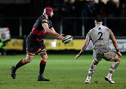 Dragons' Cory Hill gets the ball away<br /> <br /> Photographer Simon King/Replay Images<br /> <br /> Guinness Pro14 Round 12 - Dragons v Cardiff Blues - Sunday 31st December 2017 - Rodney Parade - Newport<br /> <br /> World Copyright © 2017 Replay Images. All rights reserved. info@replayimages.co.uk - http://replayimages.co.uk