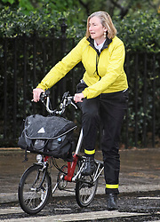 © Licensed to London News Pictures. 08/05/2019. London, UK. Change UK MP and remain campaigner, SARAH WOLLASON is seen with her bike in Westminster. Talks between Number 10 and Labour party officials continue in an attempt to reach an agreement on a withdrawal agreement from the EU. Photo credit: Ben Cawthra/LNP