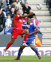 Photo: Steve Bond/Richard Lane Photography. <br />Leicester City v Colchester United. Coca Cola Championship. 12/04/2008. Kevin Lisbie (L) breaks across Bruno N'Gotty (R)
