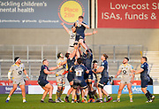 Sale Sharks lock Matt Pothleswaite wins a line-out during the Gallagher Premiership Rugby match Sale Sharks -V- Wasps  at The AJ Bell Stadium, Greater Manchester, England United Kingdom, Sunday, December 27, 2020. (Steve Flynn/Image of Sport)