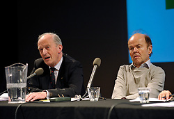 "© Licensed to London News Pictures. File Picture:16 March 2012; Bristol, UK; File picture of Lord Hunt (left) being listened to by Christopher Jefferies, at the Bristol Branch of the National Union of Journalists annual Benn Debate with the title ""Hacked to bits; Restoring public trust in journalism"" at the Arnolfini gallery in Bristol. The debate centred on phone hacking, the Leveson inquiry, and trust and regulation of the press. The speakers were Lord Hunt, Christopher Jefferies, Richard Peppiatt, Thais Portilho-Shrimpton, Steve Brodie from BBC Bristol, Mike Norton editor of the Bristol Post.  The event was chaired by Donnacha Delong, President of the National Union of Journalists. 16 March 2012..Photo credit : Simon Chapman/LNP"