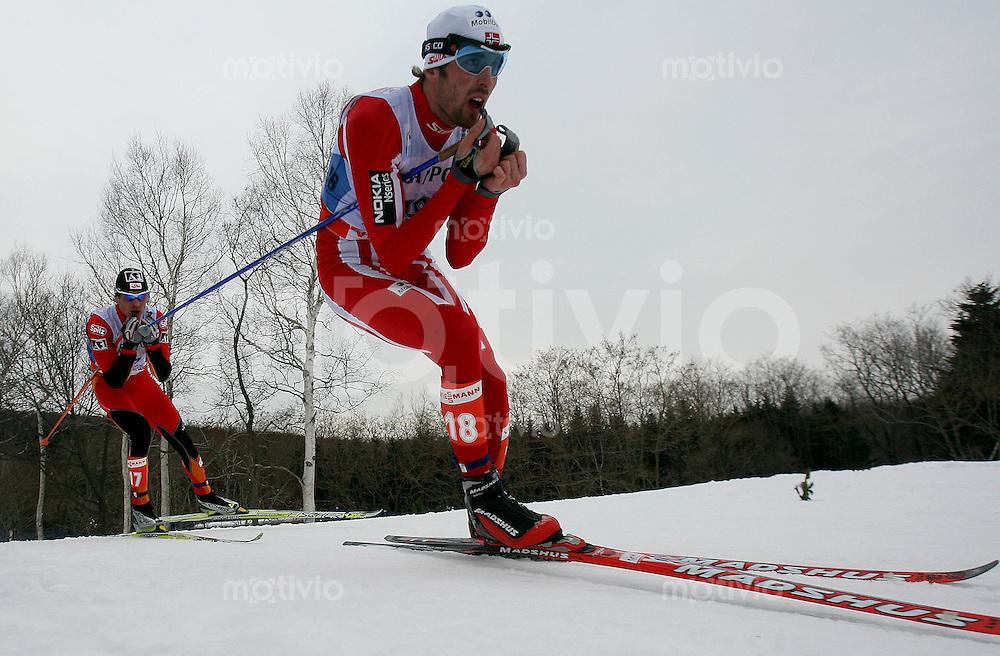 Sapporo , 030307 , Nordische Ski Weltmeisterschaft  Nordische Kombination 15km Langlauf ,  Magnus MOAN (NOR)
