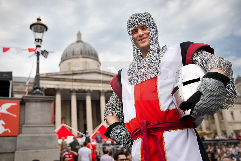 © Licensed to London News Pictures. 21/04/2018. London, UK. A man dressed as St George attends the 'Feast of St George' event in Trafalgar Square, to celebrate the Patron Saint of England. St George's Day is on 23 April. Photo credit : Tom Nicholson/LNP