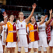 Galatasaray's players during their woman Euroleague group A matchday 5 Galatasaray between Lotos Gdynia at the Abdi Ipekci Arena in Istanbul at Turkey on Wednesday, November 09 2011. Photo by TURKPIX