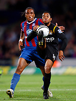 Football<br /> Carling Cup Second Round <br /> Manchester City's Robinho holds of Neil Danns ( palace)<br /> Crystal Palace v Manchester City at Selhurst Park Stadium, London 27/08/2009 Credit Colorsport / Kieran Galvin