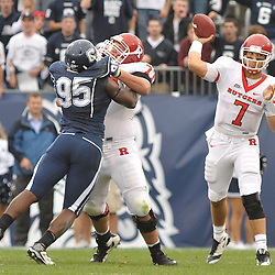 Oct 31, 2009; East Hartford, CT, USA; Rutgers quarterback Tom Savage (7) passes the ball during second half Big East NCAA football action in Rutgers' 28-24 victory over Connecticut at Rentschler Field.