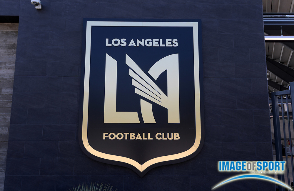 Apr 25, 2018; Los Angeles, CA, USA; Los Angeles Football Club logo at Banc of California Stadium. The venue is the home of the Los Angeles FC of the MLS and is the first open-air stadium built in the City of Los Angeles since 1962. It is constructed on the site of the former Los Angeles Memorial Sports Arena at Exposition Park next to the Los Angeles Memorial Coliseum.