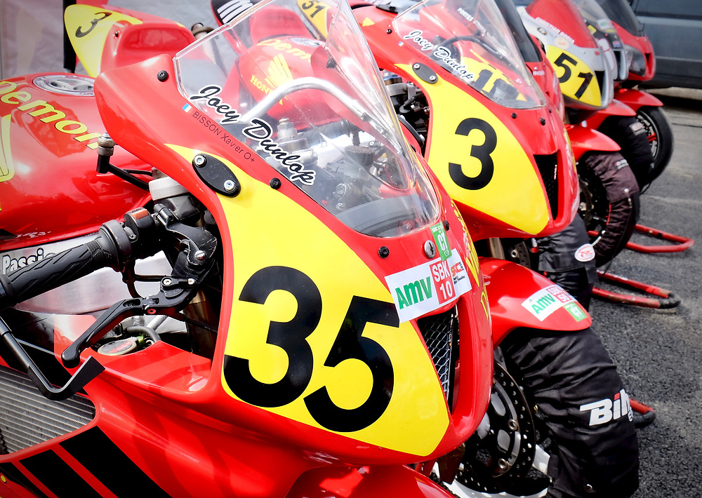 """Very rare Honda RC45 race bikes on display at the """"Sunday Ride"""" event at Circuit Paul Ricard."""