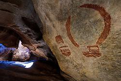 Pictograph at Cave Kiva, Hueco Tanks State Park & Historic Site, El Paso, Texas. USA.