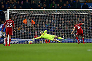 Tom Cleverley of Watford misses a last minute penalty as Everton goalkeeper Jordan Pickford dives . Premier league match, Everton vs Watford at Goodison Park in Liverpool, Merseyside on Sunday 5th November 2017.<br /> pic by Chris Stading, Andrew Orchard sports photography.