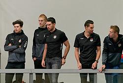 26-10-2019 NED: Talentteam Papendal - Sliedrecht Sport, Ede<br /> Round 4 of Eredivisie volleyball - Support, Seain Cook #19 of Dynamo, Maikel van Zeist #10 of Dynamo, Renzo Verschuren #9 of Dynamo