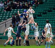 Twickenham, Surrey, UK.. Cambridge Lock, Alice ELGAR, collect the line out ball, during the 2017 Women's Varsity Rugby Match, Oxford vs Cambridge Universities. RFU Stadium, Twickenham. Surrey, England.<br /> <br /> Thursday  07.12.17  <br /> <br /> [Mandatory Credit Peter SPURRIER/Intersport Images]