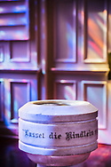 """The baptismal font on Sunday, July 11, 2021, at St. Paul Lutheran Church in the Marigny area of New Orleans. Inscribed in the font is """"Lasset die Kindlein zu mir kommen"""" or """"let the children come to me"""" from Matthew 19:14, Mark 10:14 and Luke 18:16.  """"LCMS Communications/Erik M. Lunsford"""
