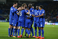Junior Hoilett of Cardiff city (c) celebrates with teammates after he scores his teams 1st goal. EFL Skybet championship match, Cardiff city v Ipswich Town at the Cardiff city stadium in Cardiff, South Wales on Tuesday 31st October 2017.<br /> pic by Andrew Orchard, Andrew Orchard sports photography.