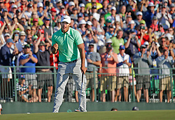 Brooks Koepka reacts on the 18th hole after winning the U.S. Open Championship during the final round of the 2017 U.S. Open Championship on Sunday, June 18, 2017 at Erin Hills in Hartford, Wis. (Photo by Mike De Sisti/Milwaukee Journal Sentinel/TNS/Sipa USA) *** Please Use Credit from Credit Field ***
