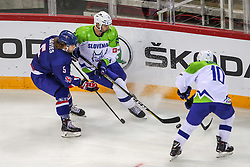 Blaz Gregorc of Slovenia, Anze Kuralt of Slovenia during Ice Hockey match between National Teams of Great Britain and Slovenia in Round #1 of 2018 IIHF Ice Hockey World Championship Division I Group A, on April 22, 2018 in Budapest, Hungary. Photo by David Balogh / Sportida