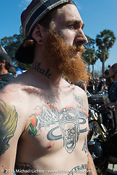 """Zachary Burgess at Willie's Tropical Tattoo """"Chopper Time"""" old school chopper show during Daytona Bike Week's 75th Anniversary event. Ormond Beach, FL, USA. Thursday March 10, 2016.  Photography ©2016 Michael Lichter."""
