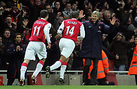 Photo: Paul Thomas.<br /> Arsenal v Manchester United. The Barclays Premiership. 21/01/2007.<br /> <br /> Thierry Henry (14) celebrates his goal past manager Arsene Wenger (R).