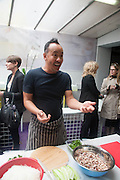 TOMAS VU-DANIEL;; Tomas vu-Daniel:   , Bloomberg Venice Conversations, Siddhartha Mukherjee, Rirkrit Tiravanija and Tomas Vu Daniel cook lunch for Sarah Sze. Palazzo Peckham. Venice. Venice Bienalle. 31 May 2013