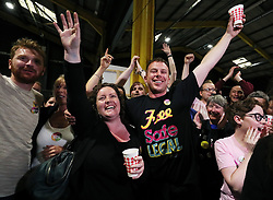 Pro-choice campaigners and supporters celebrate at the count centre in Dublin's RDS as official results for constituencies are announced in the referendum on the 8th Amendment of the Irish Constitution which prohibits abortions unless a mother's life is in danger. Picture date: Saturday May 26, 2018. See PA story IRISH Abortion. Photo credit should read: Brian Lawless/PA Wire