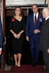 The Duke and Duchess of Cambridge arrive for the annual Royal British Legion Festival of Remembrance at the Royal Albert Hall in London, which commemorates and honours all those who have lost their lives in conflicts.