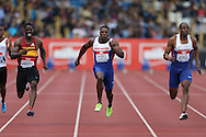 Dwain Chambers, Harry Aikines-Aryeetey© and James Dasaolu ® competing in the Men's 100m Semi Finals. The British Championships 2016, athletics event at the Alexander Stadium in Birmingham, Midlands  on Saturday 25th June 2016.<br /> pic by John Patrick Fletcher, Andrew Orchard sports photography.