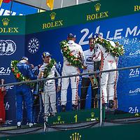 Podium GTE Pro: 1. #92 Porsche GT Team (Christensen/Estre/Vanthoor), 2. #91 Porsche GT Team (Lietz/Bruni/Makowiecki), 3. #68 Ford Chip Ganassi USA (Hand/Bourdais/Mueller) on 17/06/2018 at the 24H of Le Mans, 2018