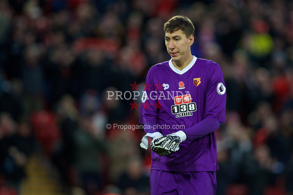 LIVERPOOL, ENGLAND - Sunday, November 6, 2016: Watford's goalkeeper Costel Pantilimom looks dejected as his side lose 6-1 during the FA Premier League match against Watford at Anfield. (Pic by David Rawcliffe/Propaganda)