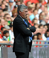 Wembley Stadium Community Shield  Manchester United v Chelsea 09/08/09<br /> Carlo Ancelotti  (Chelsea) is not impressed with first half performance<br /> Photo Roger Parker Fotosports International