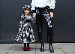 Elsa Dai, four, wears a design by her mother Dan Dai, from China, outside the BFC Show Space Show during the London Fashion Week SS18. PRESS ASSOCIATION. Picture date: Saturday September 16, 2017. Photo credit should read: Isabel Infantes/PA Wire