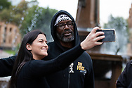 Rodney Overby former Sydney King Basketball player takes a selfie before marching on Parliament House at the Archibald Fountain in Hyde Park on 02 June, 2020 in Sydney, Australia. Black Lives Matter protest was arranged by Australian Communist Party with Australia's First Nations People following the killing of an unarmed black man George Floyd at the hands of a police officer in Minneapolis, Minnesota. (Photo by Pete Dovgan/ Speed Media)