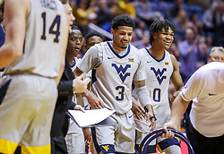 Dec 1, 2018; Morgantown, WV, USA; West Virginia Mountaineers guard James Bolden (3) smiles during a timeout during the first half against the Youngstown State Penguins at WVU Coliseum. Mandatory Credit: Ben Queen-USA TODAY Sports
