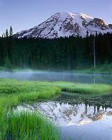 Mount Rainier 14,411¬?ft (4,392¬?m) from Reflection Lake, Mount Rainier National Park