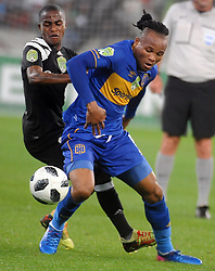 Cape Town 18-03-14  Cape Town city left back Dove Edmilson attacking as Orlando Pirates Thembinkosi lorch   trying to defend in the Nedbank Cup last 16  in  Cape Town Stadium Pictures Ayanda Ndamane African news agency/ANA