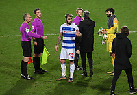 Football - 2020 / 2021 Sky Bet Championship - Queens Park Rangers vs Brentford - Kiyan Prince Foundation Stadium<br /> <br /> Charlie Austin of Queens Park Rangers has words with Brentford manager Thomas Frank at the end of the game.<br /> <br /> COLORSPORT/ASHLEY WESTERN