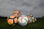 Balls piled ready for team warmup before the Handa Premiership football match, Hawke's Bay v Canterbury, Bluewater Stadium, Napier, Sunday, October 28, 2018. Copyright photo: Kerry Marshall / www.photosport.nz