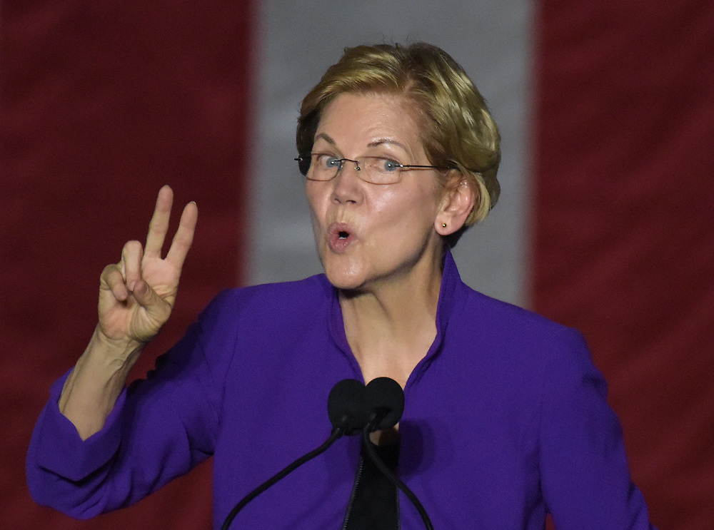 Democratic presidential candidate Elizabeth Warren appears during a campaign event Sept. 16, 2019, at Washington Square Park in New York City.