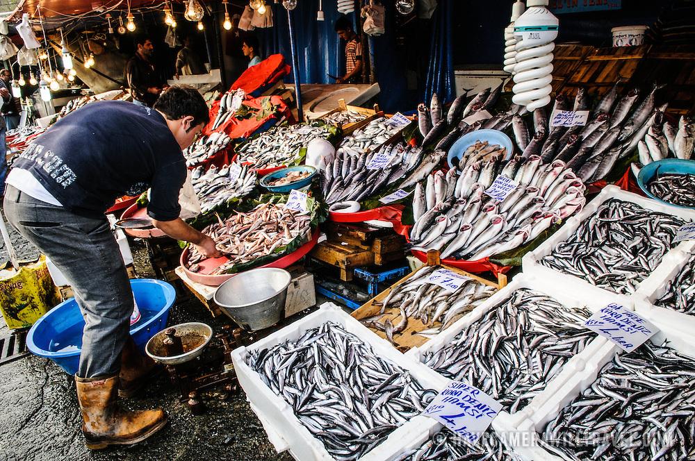Karakoy Fish Market in Istanbul near the Galata Bridge.