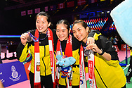 BANGKOK, THAILAND - MAY 26: (L-R) Puttita Supajirakul of Thailand, Busanan Ongbamrungphan of Thailand, Jongkolphan Kititharakul of Thailand celebrate on Court 1 with their gold medals after the Medals Presentation at the BWF Total Thomas and Uber Cup Finals 2018, Impact Arena, Bangkok, Thailand on May 26, 2018.<br /> .<br /> .<br /> .<br /> (Photo by: Naratip Golf Srisupab/SEALs Sports Images)<br /> .<br /> Any image use must include a mandatory credit line adjacent to the content which should read: Naratip Golf Srisupab/SEALs Sports Images
