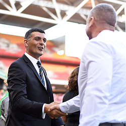 BRISBANE, AUSTRALIA - JANUARY 7: Brisbane Roar coach John Aloisi shakes hands with Newcastle Jets coach Mark Jones before the round 14 Hyundai A-League match between the Brisbane Roar and Newcastle Jets at Suncorp Stadium on January 7, 2017 in Brisbane, Australia. (Photo by Patrick Kearney/Brisbane Roar)