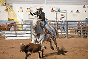 02 NOVEMBER, 2008 -- PHOENIX, AZ:  Calf roping at the Arizona High School Rodeo at the Arizona State Fair in Phoenix. Teams from across the state participate. The Arizona High School Rodeo Association sponsors a full season of high school rodeo that culminate in a championship rodeo in June.  PHOTO BY JACK KURTZ