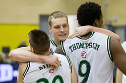 Jan Mocnik,  Jaka Blazic and Deon Marshall Thompson of Olimpija celebrate after winning the basketball match between KK Union Olimpija Ljubljana and KK Krka Novo mesto of finals of 11th Slovenian Spar Cup 2012, on February 19, 2012 in Sports hall Brezice,  Brezice, Slovenia. Union Olimpija defeated Krka 68-63 and became Slovenian Cup Champion 2012. (Photo By Vid Ponikvar / Sportida.com)