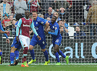 Football - 2016 / 2017 Premier League - West Ham United vs. Leicester city<br /> <br /> Robert Huth of Leicester (6) celebrates his goal with Wilfred Ndidi at The London Stadium.<br /> <br /> <br /> Norway only