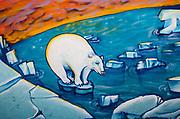 Street art, graffiti, polar bear on melting ice floe , global warming threat looms on horizon, Christchurch.