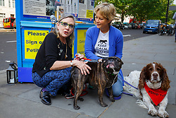 © Licensed to London News Pictures. 07/06/2016. London, UK. Star Wars actress CARRIE FISHER and JENNY SEAGROVE protest against China's Yulin dog meat festival and support handing in an 11 million-signature petition against the festival, outside Chinese Embassy in London on Tuesday, 7 June 2016. Photo credit: Tolga Akmen/LNP